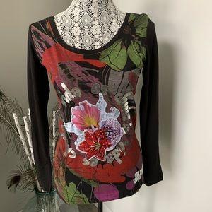DESIGUAL Raquel Long Sleeved T-shirt Black Small